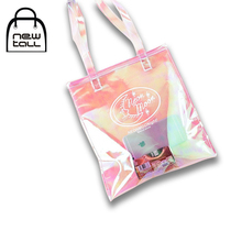 [NEWTALL] 2017 New Fashion Simple Colorful Bright Laser PVC English Words Printing Shopping Transparent Totes Bag B17052402(China)