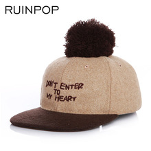 RUINPOP 2017 New Children Cotton Baseball Cap Warm Winter Hat Cap Adjustable Kid Wool Hip Hop Hat baby Child Hat with ball(China)