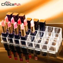 CHOICE FUN 24 Lipstick Holder Display Stand Clear Acrylic Cosmetic Organizer Makeup Case Storage Organizer Make Up SF-1034(China)