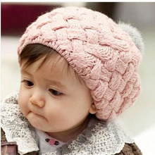 Winter Keep Warm Beanie Baby Hat Multicolor Kids Girls Handmade Crochet Knitting Beret Cap Cute Newborn Hat For Girl 2017(China)