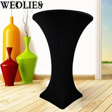 5Pcs/Set Black Spandex Stretch Table Cloth Fitted Cocktail High Bar Wedding Tablecloth Table Cover Party Events Decor Textiles