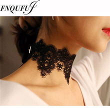 Black Lace Choker Necklace Women chockers Boho flower Gothic Chokers 2016 vintage necklace Fashion jewelry(China)