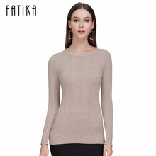 FATIKA 2017 Fashion Women Boat Neck Full Sleeve Slim Pullovers Solid Color Casual Knitted Skinny Sweater Jumpers For Ladies(China)