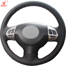XUJI Black Leather Car Steering Wheel Cover for Mitsubishi Lancer EX 10 Lancer X Outlander ASX Colt Pajero Sport(China)