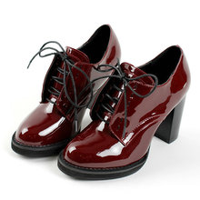 Size 34-43 Burgundy Square High Heel Platform Ladies Summer Shoes PU Patent leather Woman Pump Pointed Toe Ladies Wedding Shoes