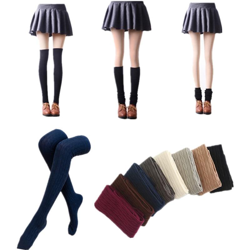 Women Winter Thick Sock  Knit Woolen Yarn Over Knee Stocking Warmer High Socks