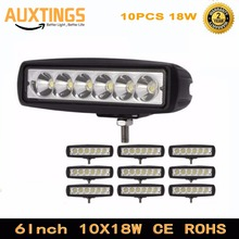 10PCS 6 inch 18W 12V LED Work Light Bar Spot Flood Beam for Motorcycle Offroad Tractor Truck Work Lamp Driving LED Lights
