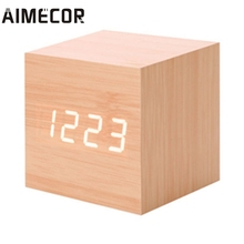 Aimecor alarm clock projector Modern Wooden Digital LED Desk Alarm Clock with Thermometer Timer Calendar*30 GIFT 2017(China)