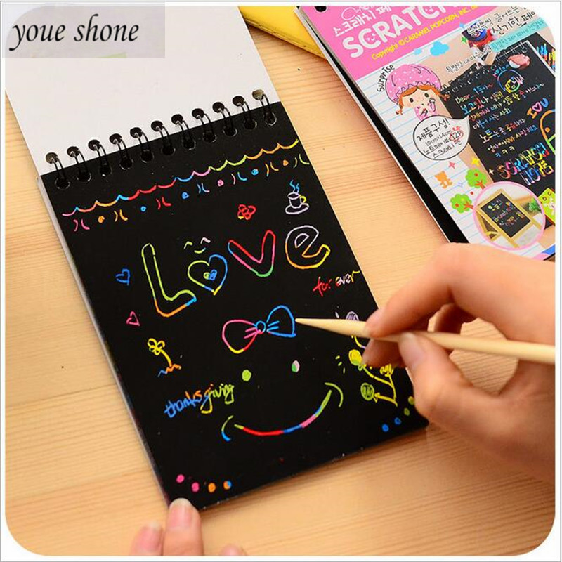 1PCS Creative kawaii Mini drawing books Scratch Color DIY Coil Graffiti Book With Pen Creative Blank black Sketch Book for kid(China)