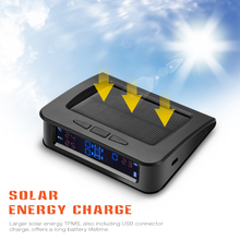 Rectangle C220 Solar Powered TPMS Car Tire Pressure Monitor System 4 External Sensor Temperature Real Time Digital Display Alarm(China)