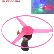 Surwish Colorful Funny Pull String Colorful LED Light Up Frisbee Flying Saucer Disc Kids Toy As Children New Year Gift(China)