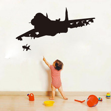 DCTOP Two Jet Fighter Plane Black Wall Stickers Home Decor For Living Room Removable Firing Airplane Art Decals