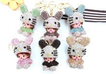 New Cute Monchichi Sitting Bunny Lucky Keychain Pendant For Bag Ornament Handbag Accessory Happy New Year Gift