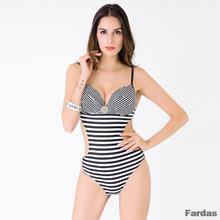2017 Hot! Sexy One Piece Push Up Striped Fold Swimwear Swimsuit Monokini Under-wired Bathing Suit with Shining Diamonds FD 81606