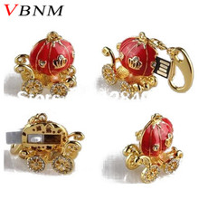 VBNM Jewelry mini beautiful pumpkin crystal  USB Flash Drive fashion diamond pendrive pen drive 4GB 8GB 16GB 32GB U disk
