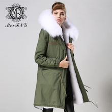 2016 Winter Fur Hooded Fur Collar Slim Long Jacket Down Parka White Fur Padded Winter Coat Women Jacket(China)