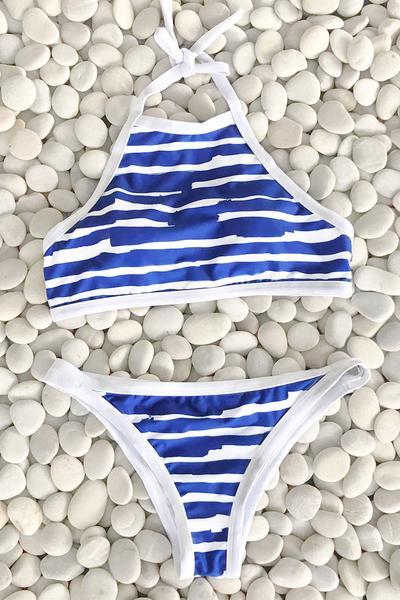 Cupshe Splice Sky into Ocean Halter Bikini Set Women Summer Sexy Swimsuit Ladies Beach Bathing Suit swimwear <br><br>Aliexpress
