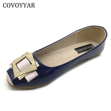 COVOYYAR 2017 Buckle Women Flats Spring Autumn Patent Leather Women Shoes Square Toe Lady Footwear Slip On Size 34-43 WFS762