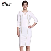 iiiher Plus Size Womens Elegant Autumn Dresses Half Sleeve Striped Casual Wear To Work Party Bodycon Pencil Sheath Dress