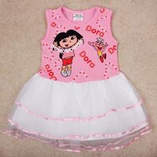 birthday dresses for baby girls Kids children 2-6 years free shipping,vestido infantis de,pink dora kid wear clothes