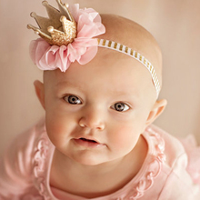 1PC Lovely Kid Girl Newborn Crown Headband Princess Queen Crown Hairband Pearl Tiara Lace Headwear Hair Accessories(China)