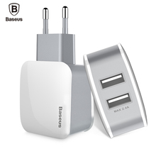 Baseus Universal Dual USB Travel Wall Phone Charger Adapter 2.4A EU US Plug Mobile Phone Charger iPhone Samsung Tablet