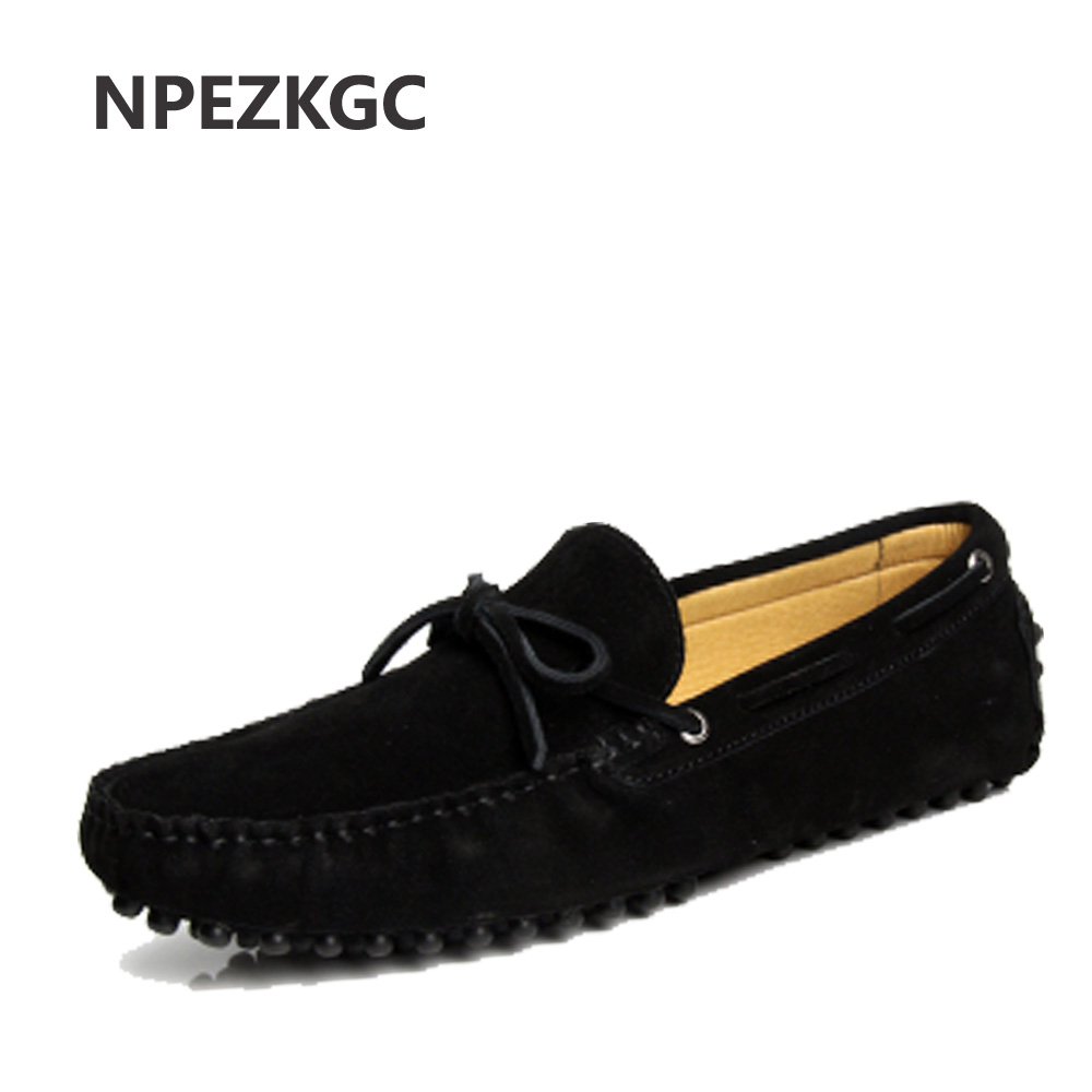 NPEZKGC men flats Sping Autumn Genuine Leather Men Shoes Fashion Breathable Casual Shoes Men Loafers Soft Driving Shoes<br>