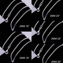 2MM Sliver New Fashion Jewelry Simple Box Chain Necklace For Unisex Man Women Gift 88 M8694(China)