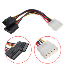5 pcs/lot Molex HDD Power Cable Serial ATA SATA 4 Pin IDE Molex to 2 of 15 Pin HDD Power Adapter Cable