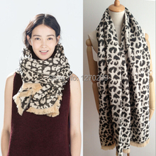 WJ32 Brand Leopard Blanket Scarf Imitation Cashmere Poncho Shawl 2014 New Winter Warm Scarves Cape 200*65CM Free Shipping