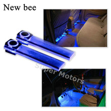 Newbee 4x Blue LED Car Styling Interior Floor Decoration Light Romantic Atmosphere Lamp For Benz VW Opel Mazda Toyota Honda(China)