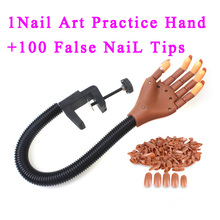 Adomaner Professional 1 Hand + 100 Tips Nail Tool Adjustable Nail Art Model Hand Practice DIY Nail Training Manicure Tools