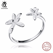 ORSA JEWELS Solid 925 Sterling Silver Rings Ajustable Cute Flower Design Jewelry Summer Gift for Women SR11(China)
