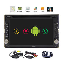 Android 6.2'' GPS Navigation Car DVD CD Player 2din HD Capacitive Mulit-touchScreen Car Stereo Audio Radio+BT+ WiFi+Wireless Cam