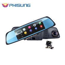 PHISUNG Android 4.4 6.86'' Touch Screen 1080P Full HD Car DVR Dual Camera Rearview Mirror GPS WIFI Car DVR Mirror Camera H.264