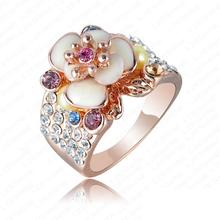 Hotting Sale Bohemia Trendy Flower Ring Jewelry Rose Gold Color Austrian Crystal Enamel Wedding Rings For Women Aneis Ri-HQ0155
