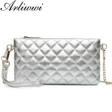 Arliwwi Brand Convenient Summer style Real Leather Cluth Plaid Genuine Sheepskin Small handbags For Women Chain Messenger Bags(China)