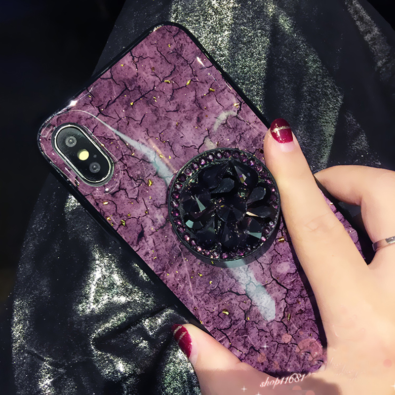 Luxury Diamond Marble Glitter silicon phone case for iphone 7 8 6 6s plus X XR XS MAX holder ring Cover For Samsung S8 S9 Note 9