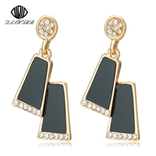 2017 Fashion Square Earrings Vintage In Drop Earrings Gold Plating Long Black Earrings For Women's Gift(China)