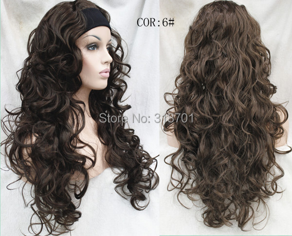 New fashion Ladies 3/4 Wig With headband Long curly Synthetic Hair Half Wig free shipping many colors<br><br>Aliexpress