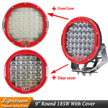 Round 185W Red 9inch Led Driving Work Light 4x4 Offroad Lights Free Cover For Truck 4WD SUV ATV CAR 12V 24V External Lights x1(China)