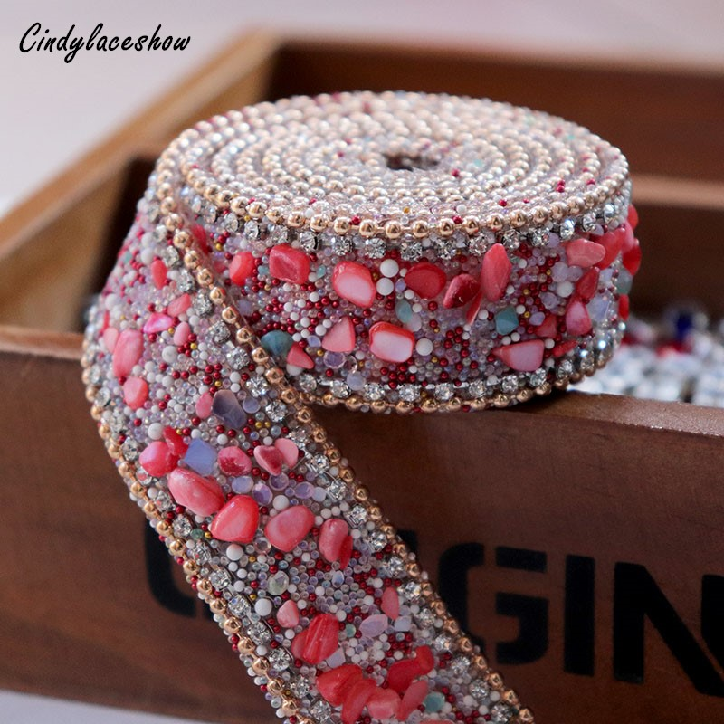 burgundy satin jewel flower 4.5cm kids glue on Sew on Applique Motif Patch trim