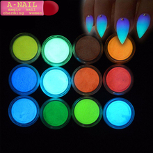 A-NAIL 12 Bottles Fluorescence Pigment Ultrafine Glitter Glow Powder Nail Polish Luminous Decor Tip Nail Beauty Tool LAYS01
