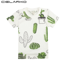 Cielarko Boys T-shirt Children Summer Cartoon Short Sleeve Cactus Top Tees Kids Sport Clothes Funny Design T Shirts for 4-8 Year