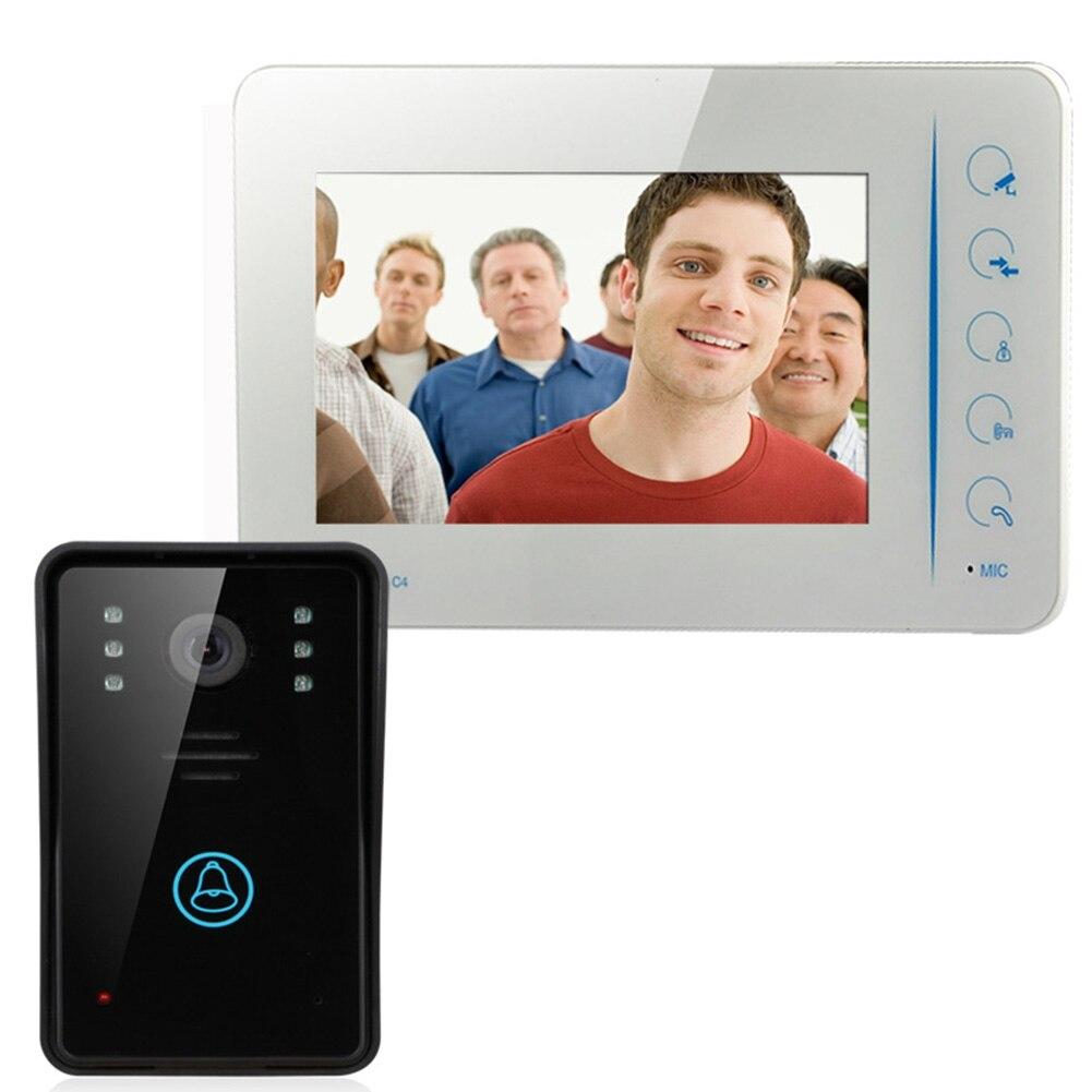 7 Inch Touch Button Remote Unlock Video Door Phone Intercom Doorbell System Kit IR Camera Doorphone Monitor Speakerphone<br><br>Aliexpress