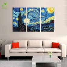 Unframed 3 Pieces Vincent Van Gogh STARRY NIGHT C.1889 Art Wall Picture Modular Landscape Canvas Posters Oil Painting Home Decal