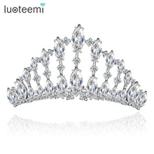 LUOTEEMI Brand Top Luxury Crown Cubic Zircon Bridal Wedding Princess Tiara Hair Accessories White Gold-Color Fancy Jewelry(China)