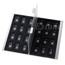 Silver Aluminum Memory Card Storage Case Box Holder For 24 TF Micro SD Cards - L059 New hot(China)
