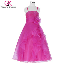 Buy Grace Karin Spaghetti Straps Flower Girl Dresses 2018 Cute Ball Gown Sleeveless Summer Wedding Little Girls Kids Children Dress for $25.08 in AliExpress store