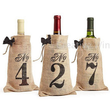 1-10 Hessian Burlap Bow Tie  Wine Bottle Bags Table Number Pouch Wedding party  Favor Holders Decorations
